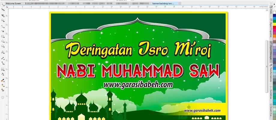 template banner backdrop islami isro miraj format coreldraw