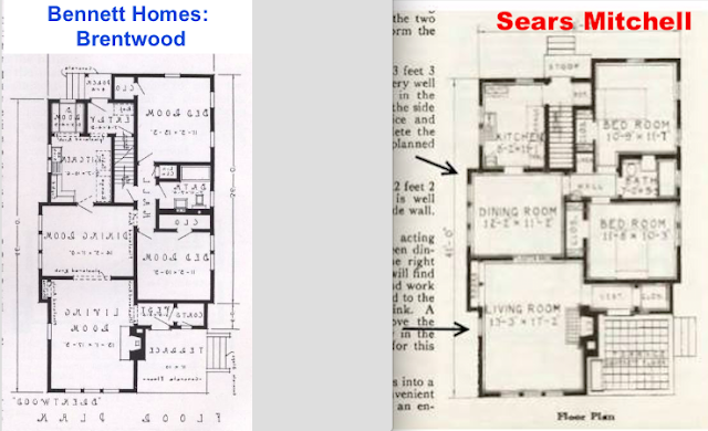 comparison of two floor plans Sears Mitchell vs Bennett Homes Brentwood model