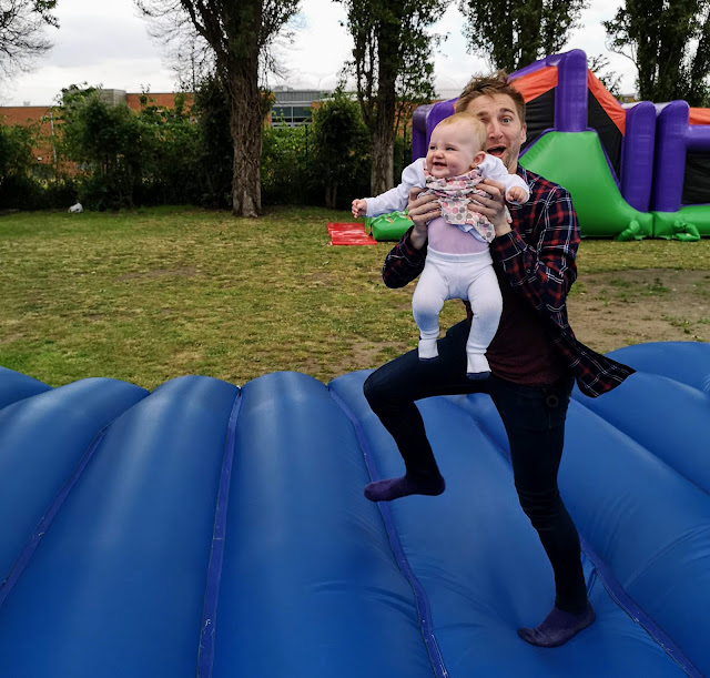 Daddy and Daughter on a bouncy castle autistic and pregnant asd blog