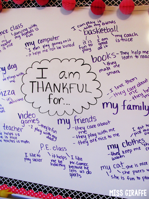 What I am thankful for writing activity to do whole group for November Thanksgiving