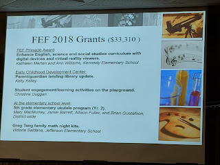 one slide with a sample of grants awarded