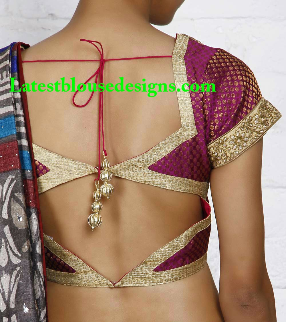 Magenta Blouse With Gold Lace Borders Latest Blouse Designs