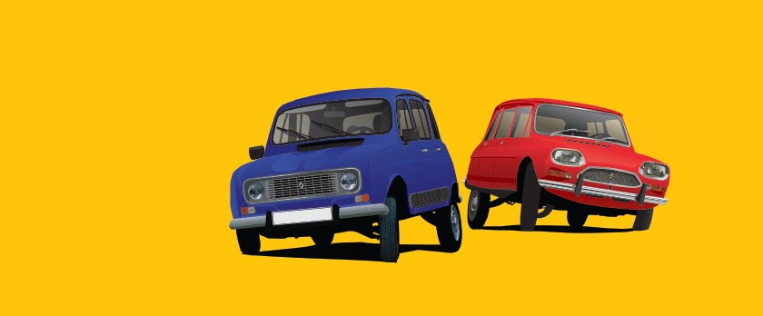 Renault 4 and Citroën Ami 8 cornering on a classic car T-shirts