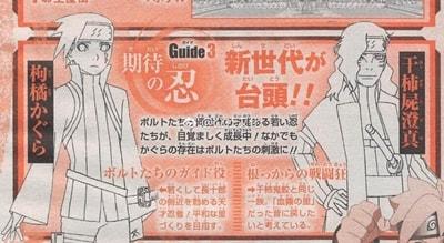 Diseños de los dos nuevos personajes que saldrán en el Anime de Boruto: Kagura Karatachi y Shisuma Hoshigaki