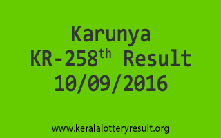 Karunya KR 258 Lottery Results 10-9-2016