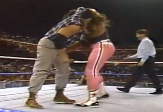 WWF / WWE - This Tuesday in Texas - Intercontinental Champion Bret Hart sets Skinner up for a suplex