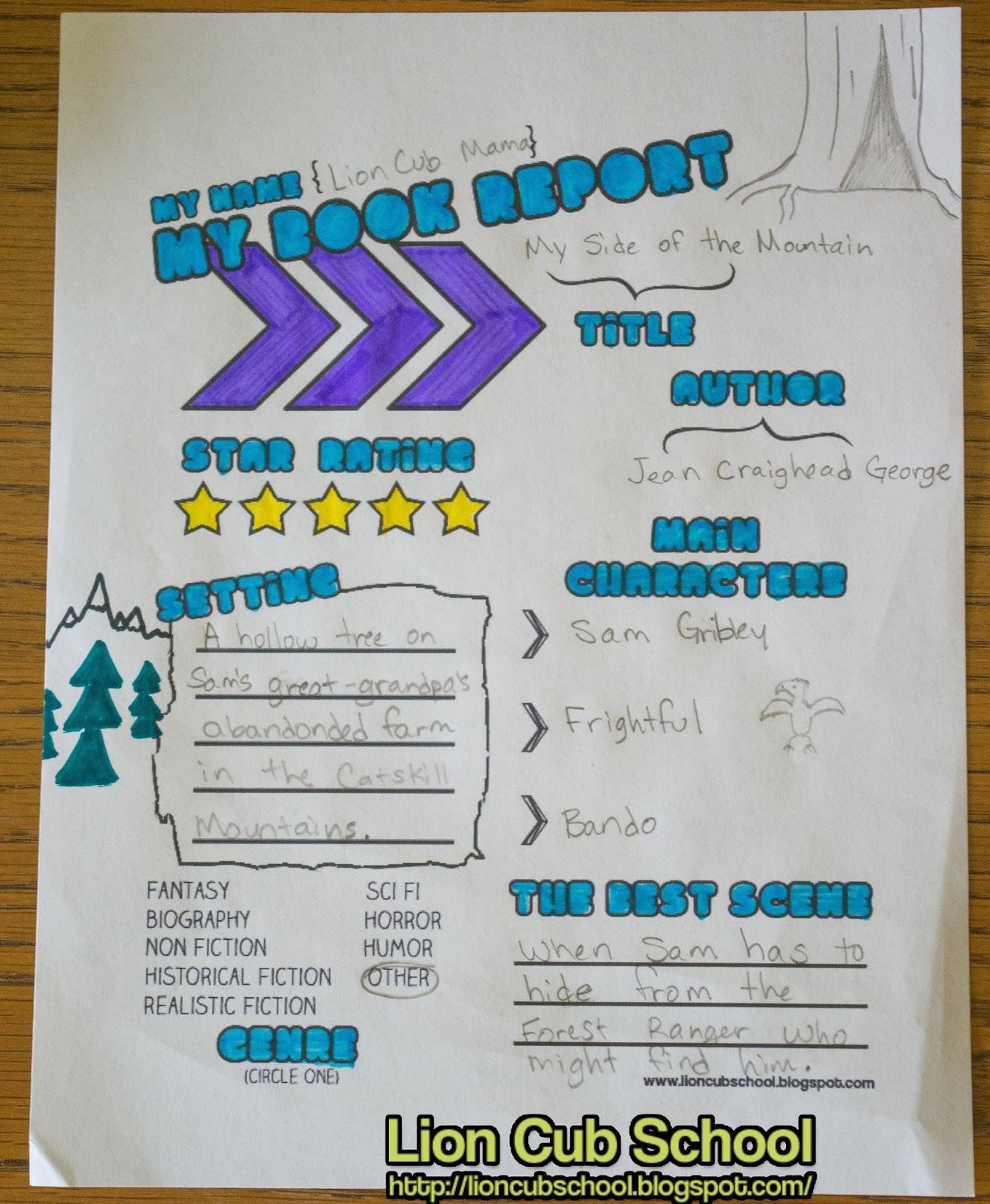Lion Cub School: Freebie Friday - Book Report Worksheet [ 1600 x 1316 Pixel ]
