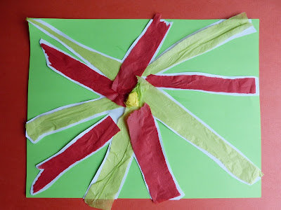 Torn tissue paper poinsettias, from Paula's Preschool and Kindergarten