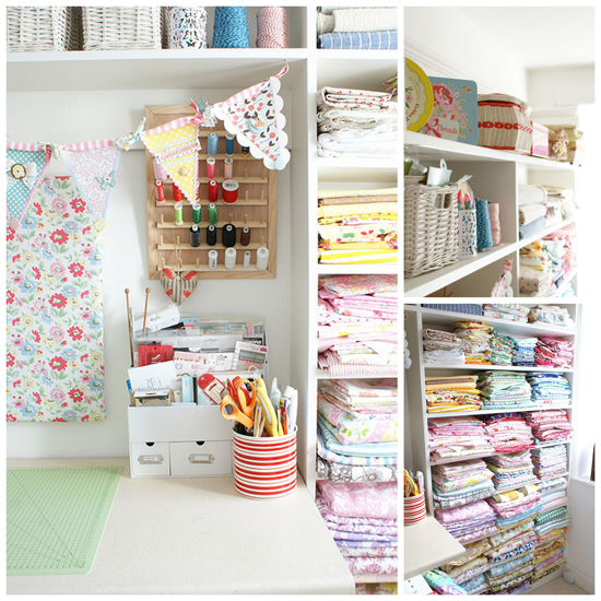 This is a gorgeous image of Messy Jessies Sewing Room! Click through to see more gorgeous Craft Room Inspiration!
