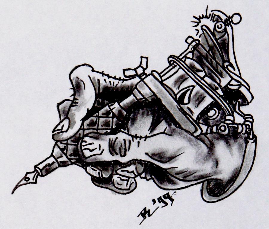 Petaled: Custom Design, The Tattoo Gun Tribute  |Tattoo Gun Drawing