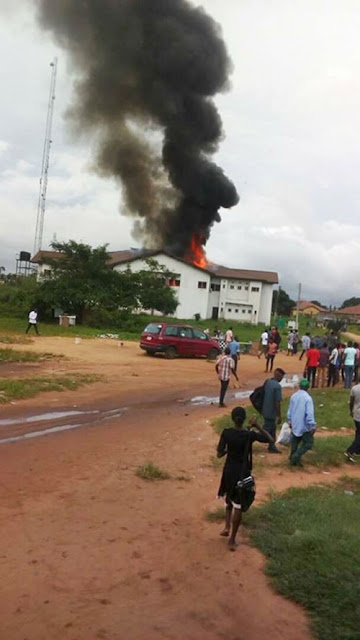 Fire Guts ICT building Of Federal University Of Technology, Owerri