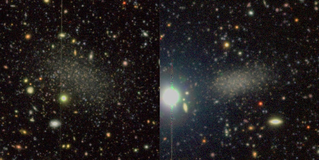 Color images of the two recently discovered satellite galaxies around M94. The images were taken with Hyper Suprime-Cam on the Subaru telescope, located at nearly 14,000 ft above sea level on the summit of Mauna Kea in Hawaii. Image credit: Smercina et al. 2018