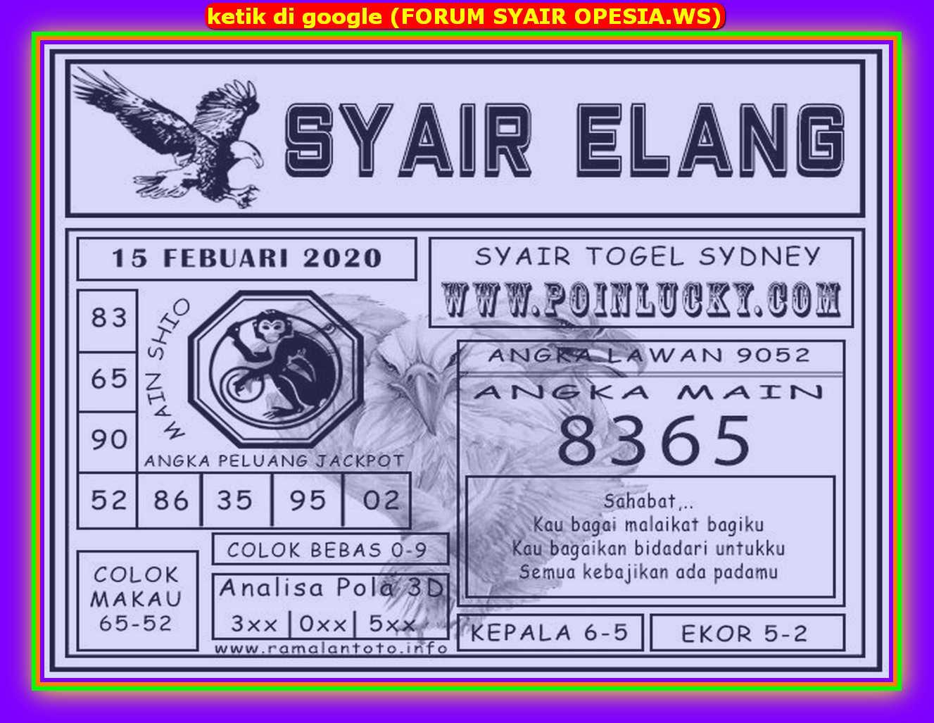 Kode syair Sydney Sabtu 15 Februari 2020 115
