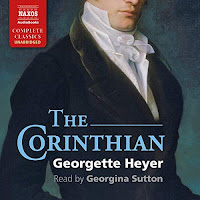The Corinthian audiobook cover. A cropped image featuring a painting of a man's torso. He is wearing regency dress, a velvety jacket and a high collared white shirt and cravat.