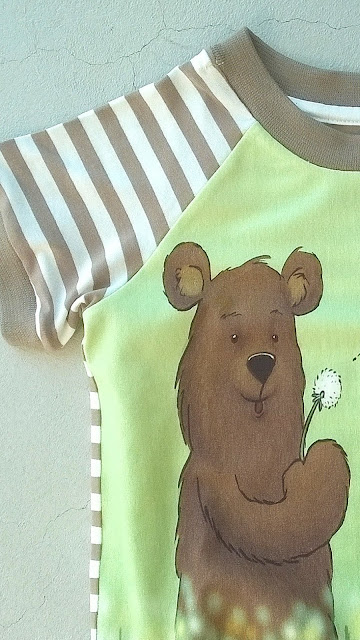 Dandelion bear Finch Fabric detail shirtje