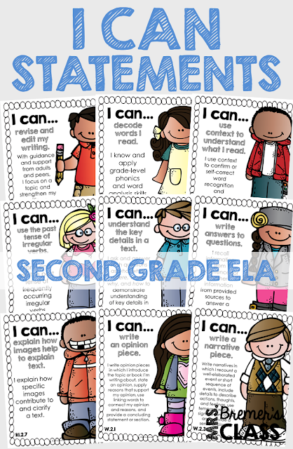 These Second Grade 'I Can' statement charts are perfect to display on an objective board or a focus board! The charts will provide your students with visual reminders about what skills to work on, and keep you, as the teacher, accountable and on track with the learning focus. This pack includes charts for all of the Second Grade Common Core ELA Standards! #commoncore #icanstatements #2ndgrade #secondgrade #icancharts #bulletinboards #classcharts #backtoschool #2ndliteracy #2ndgradeliteracy