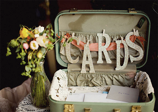 vintage suitcase wedding card holder