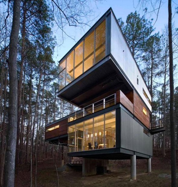 Modern Slope House Design: Modern Houses In The Middle Of The Woods. Mirin Hard As