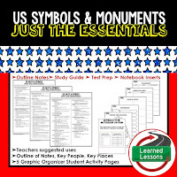 US Facts and Symbols Outline Notes, Civics Test Prep, Civics Test Review,Civics Study Guide, Civics Summer School Outline, Civics Unit Reviews, Civics Interactive Notebook Inserts