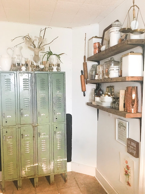 vintage lockers open shelves