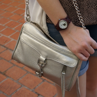 Rebecca Minkoff metallic silver mini MAC with JORD cora purpleheart wood watch | awayfromtheblue