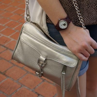 Rebecca Minkoff metallic silver mini MAC with JORD cora purpleheart wood watch | awayfromtheblue