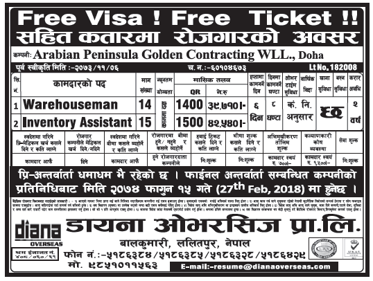Free Visa Free Ticket Jobs in Doha, Qatar for Nepali, Salary Rs 42,540