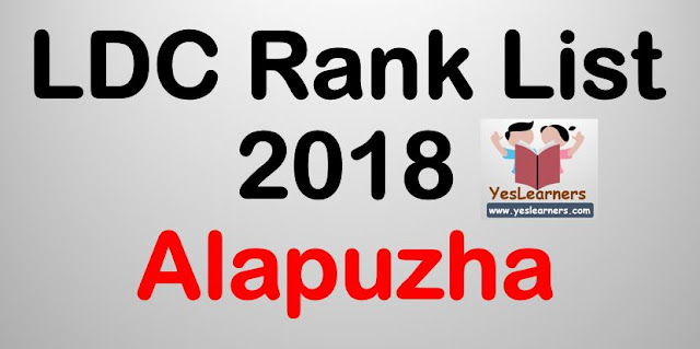 LDC Rank List 2018 - Alapuzha