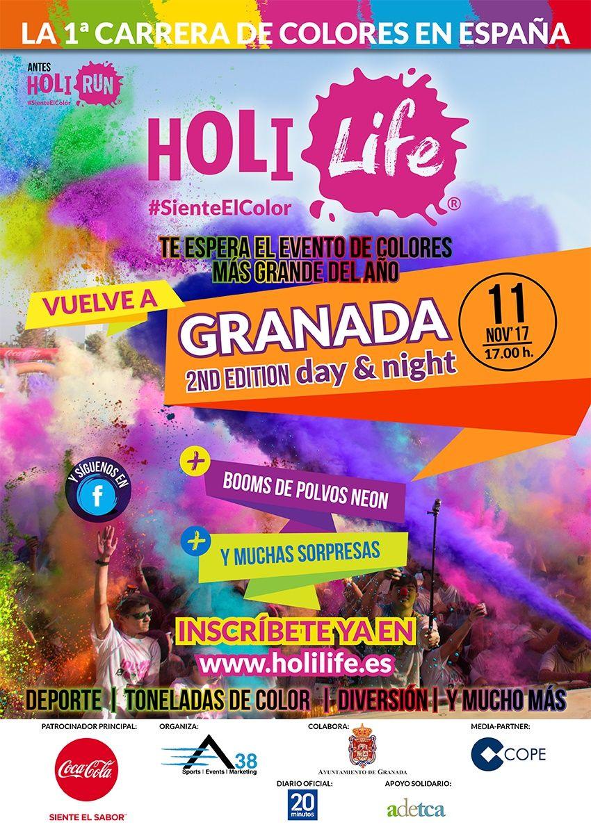 La carrera de colores Holi Life trae a Granada una espectacular prueba con polvos Holi y polvos neón