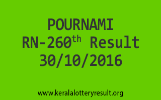 POURNAMI RN 260 Lottery Results 30-10-2016