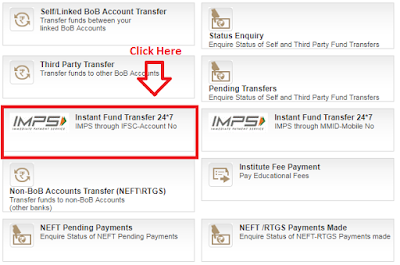 how to transfer money through imps in bank of baroda