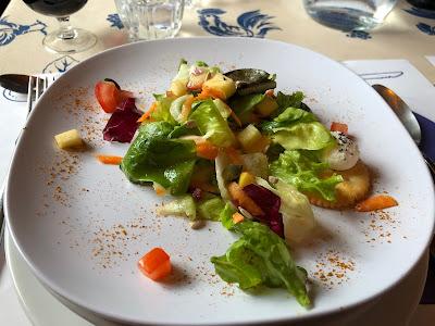 Meal at Rifutio Bonatti. Dinner salad.