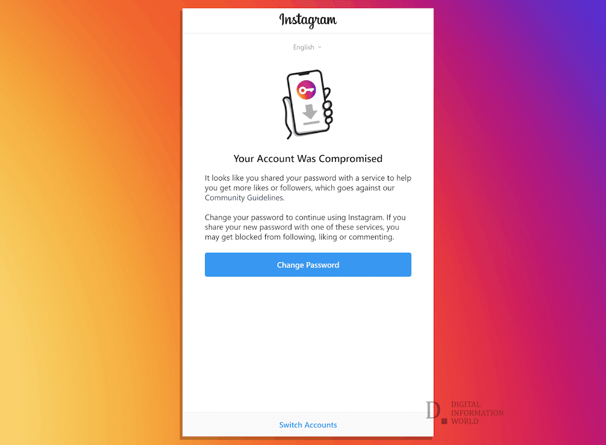 This is the warning notification that Instagram is sending to Buffer and Hootsuite users that their accounts have been compromised