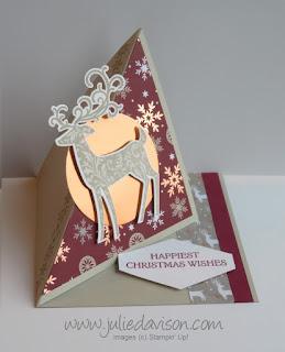 VIDEO Tutorial: Stampin' Up! Dashing Deer Diagonal Easel Card ~ Christmas ~ 2018 Holiday Catalog ~ www.juliedavison.com