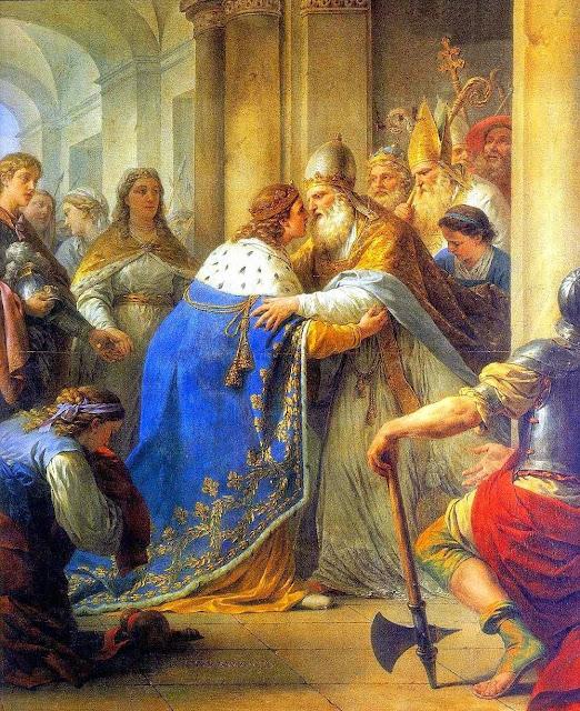 A fidelidade ao Papa foi nota característica da França medieval. São Luis foi se encontrar com o Papa Inocêncio IV em Lyon que lhe pediu auxilio. Louis-Jean-Francois Lagrenee (1724-1805)