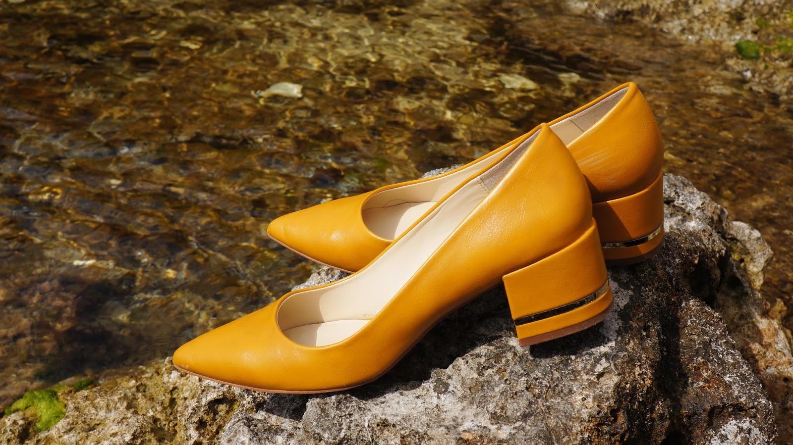 Zara Block Heel yellow shoes