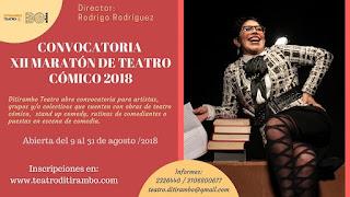 Convocatoria XII Maratón de Teatro Cómico 2018