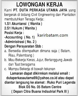Lowongan Kerja PT. Duta Perkasa Utama Jaya