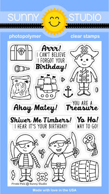 Sunny Studio Stamps Pirate Pals 4x6 Photopolymer Clear Stamp Set