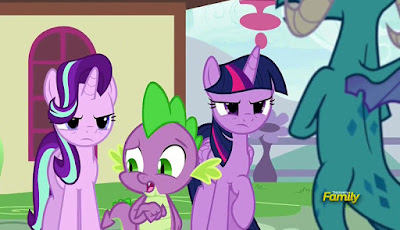Starlight and Twilight looking angrily at Ember
