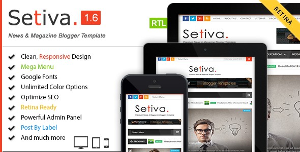 Setiva blogger theme is an another beautiful and modern responsive blogger template. It has clean and fresh flat color based responsive blogger design and special user-friendly blogger theme. This template perfects for news, magazine, blog and personal websites.