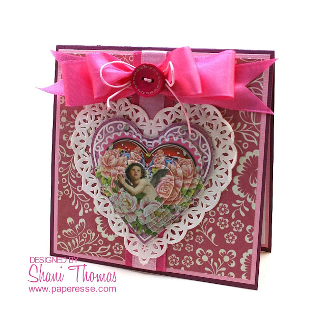 3D heart pyramid Valentine's Day card with Joy! Crafts topper, by Papersse