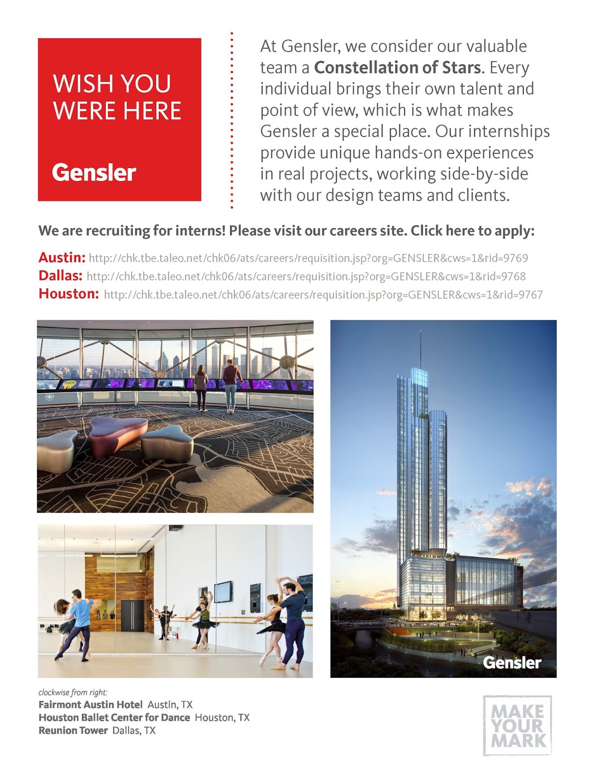 Gensler Internships Provide Unique Hands On Experiences In Real Projects Working Side By With Design Teams And Clients To Apply Please Visit