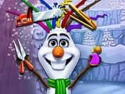 Olaf es un muñeco de nieve creado por Elsa con sus poderes mágicos. Ahora el quiere un cambio de estilo y necesita nuestra ayuda para crear un nuevo y colorido corte de pelo. Nuestro divertido muñeco de nieve no tiene ningún pelo, tu podrás darle un nuevo estilo de ramitas reales que se puede encrespar, cortar o teñir de muchas maneras. Completa su transformación, cambiando su nariz, brazos y agrega algunos accesorios para mostrar otro lado de él.