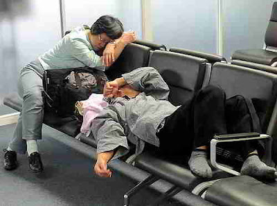 People sleeping in the airport