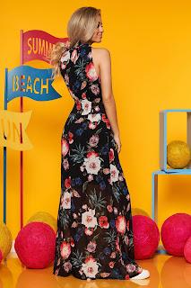 Rochie SunShine neagra casual de zi in clos din voal cu elastic in talie guler tip halter
