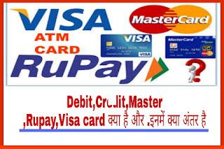 Credit Card और Debit Card क्या है? Debit और credit card में क्या अंतर है,Rupay, debit card, credit card, Visa card, MasterCard
