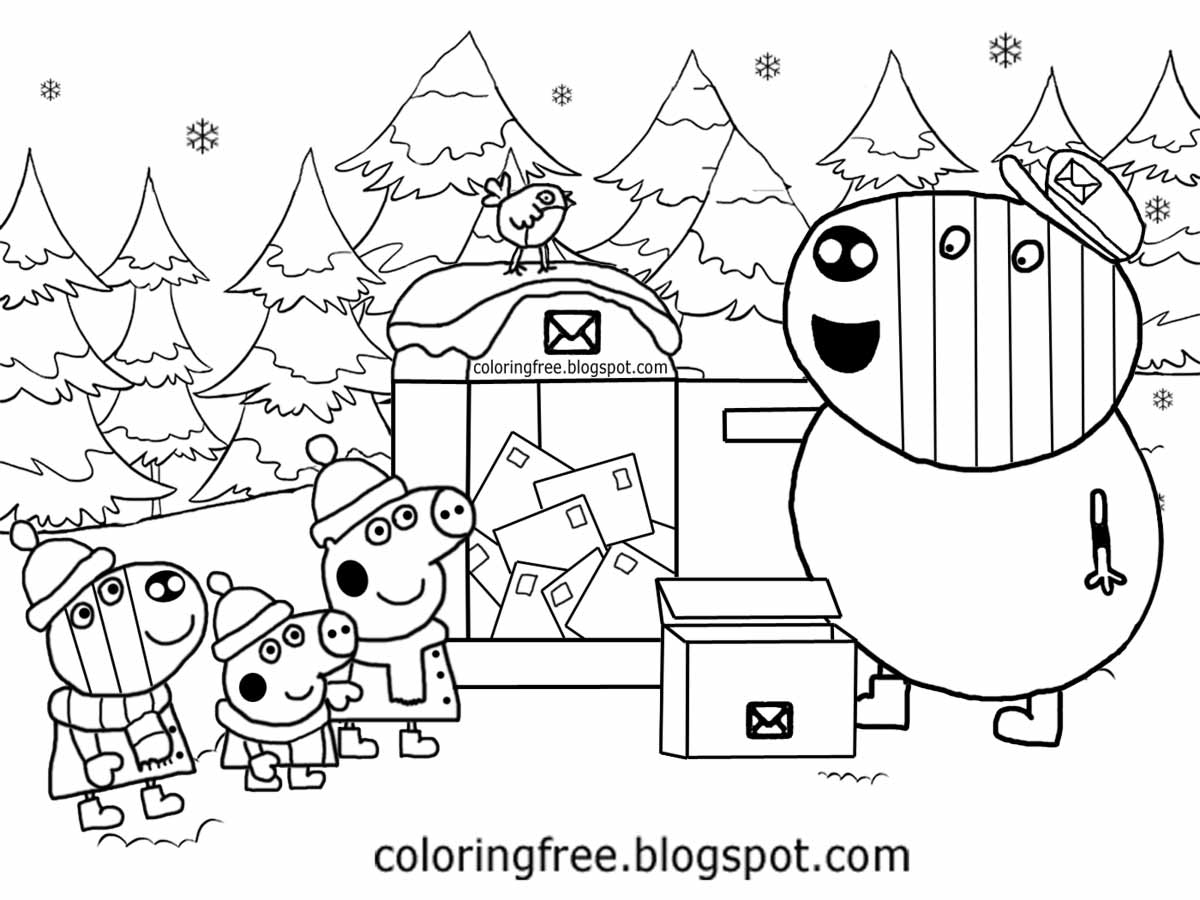 winter wood brother george zoe zebra post man mr zebra cute peppa pig christmas colouring