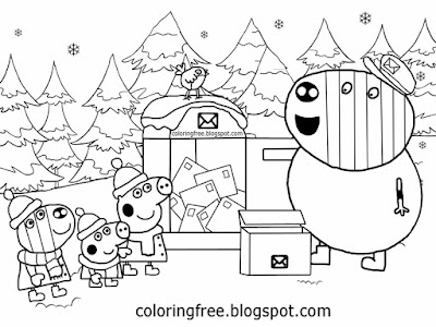 Winter wood brother George Zoe Zebra post man Mr. Zebra cute Peppa pig Christmas colouring pictures