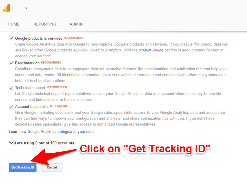 Google Analytics get your tracking ID